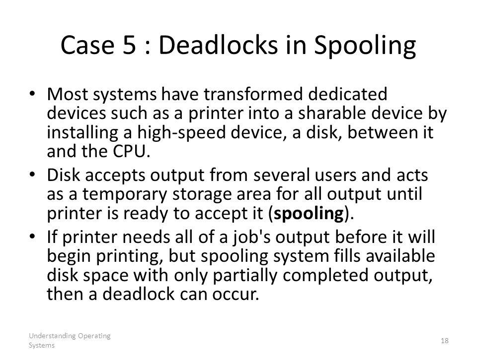 Case 5 : Deadlocks in Spooling