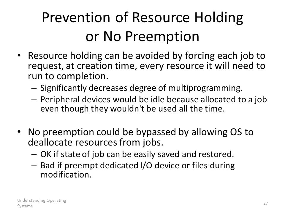 Prevention of Resource Holding or No Preemption