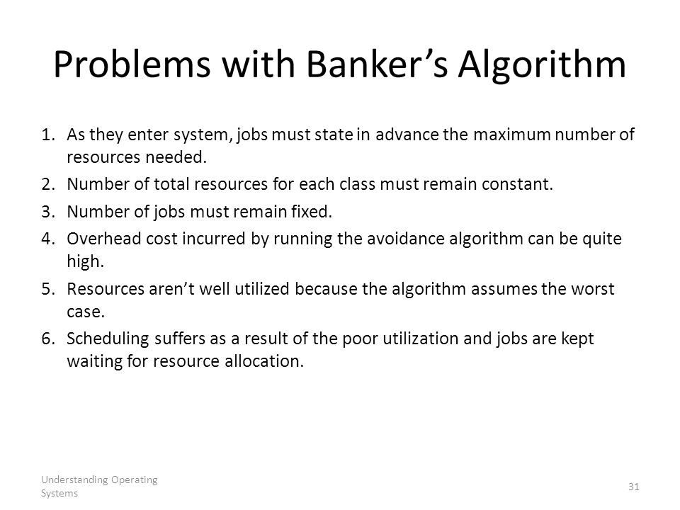 Problems with Banker's Algorithm