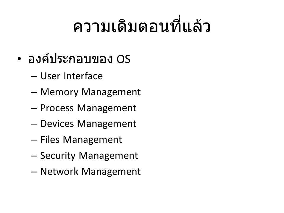 ความเดิมตอนที่แล้ว องค์ประกอบของ OS User Interface Memory Management