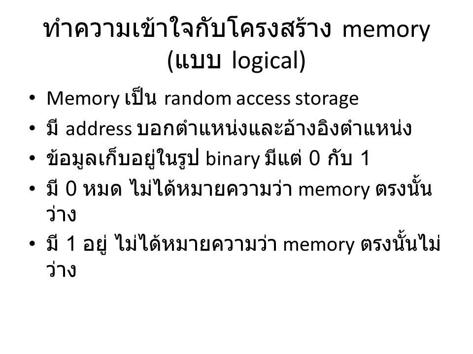 ทำความเข้าใจกับโครงสร้าง memory (แบบ logical)
