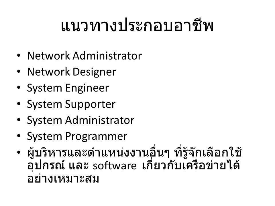 แนวทางประกอบอาชีพ Network Administrator Network Designer