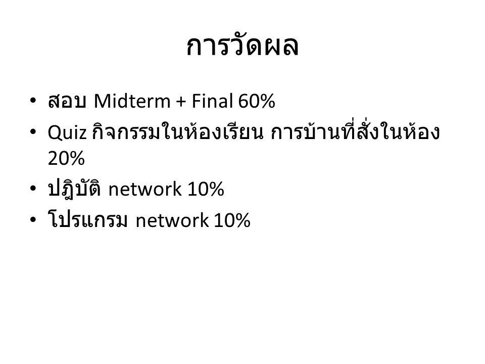การวัดผล สอบ Midterm + Final 60%