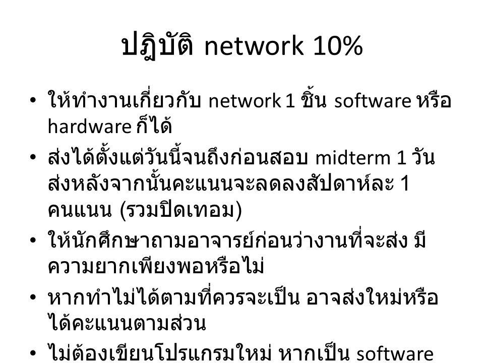 ปฎิบัติ network 10% ให้ทำงานเกี่ยวกับ network 1 ชิ้น software หรือ hardware ก็ได้