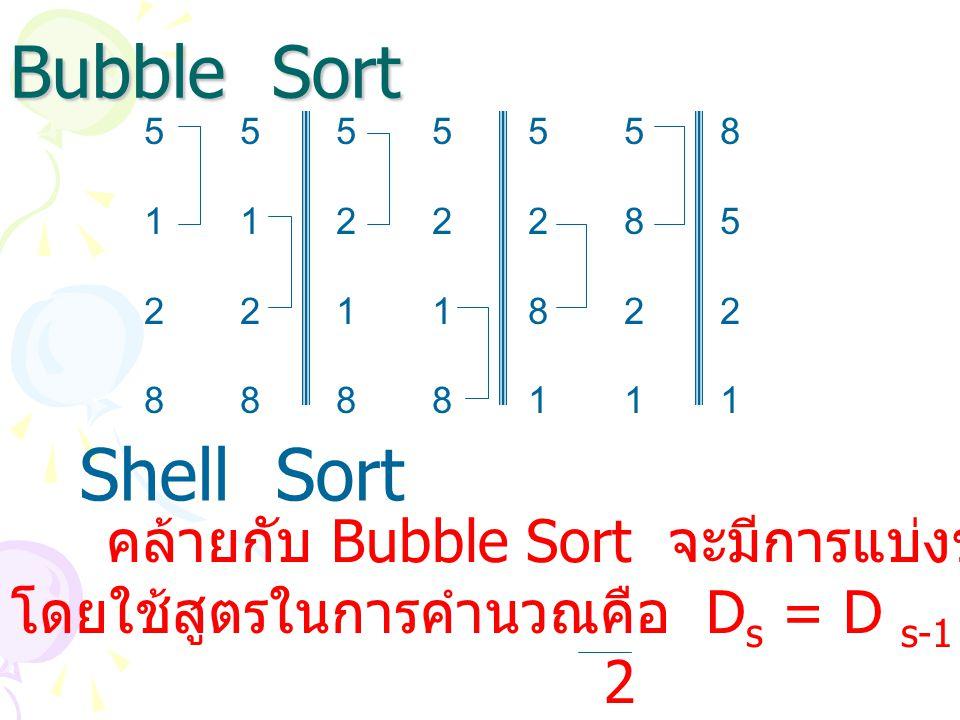 Bubble Sort 5 5 5 5 5 5 8. 1 1 2 2 2 8 5. 2 2 1 1 8 2 2. 8 8 8 8 1 1 1. Shell Sort. คล้ายกับ Bubble Sort จะมีการแบ่งข้อมูลออกเป็นกลุ่ม.