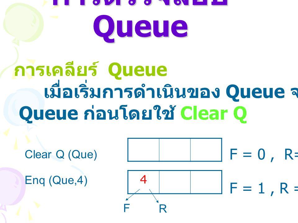 การตรวจสอบ Queue การเคลียร์ Queue