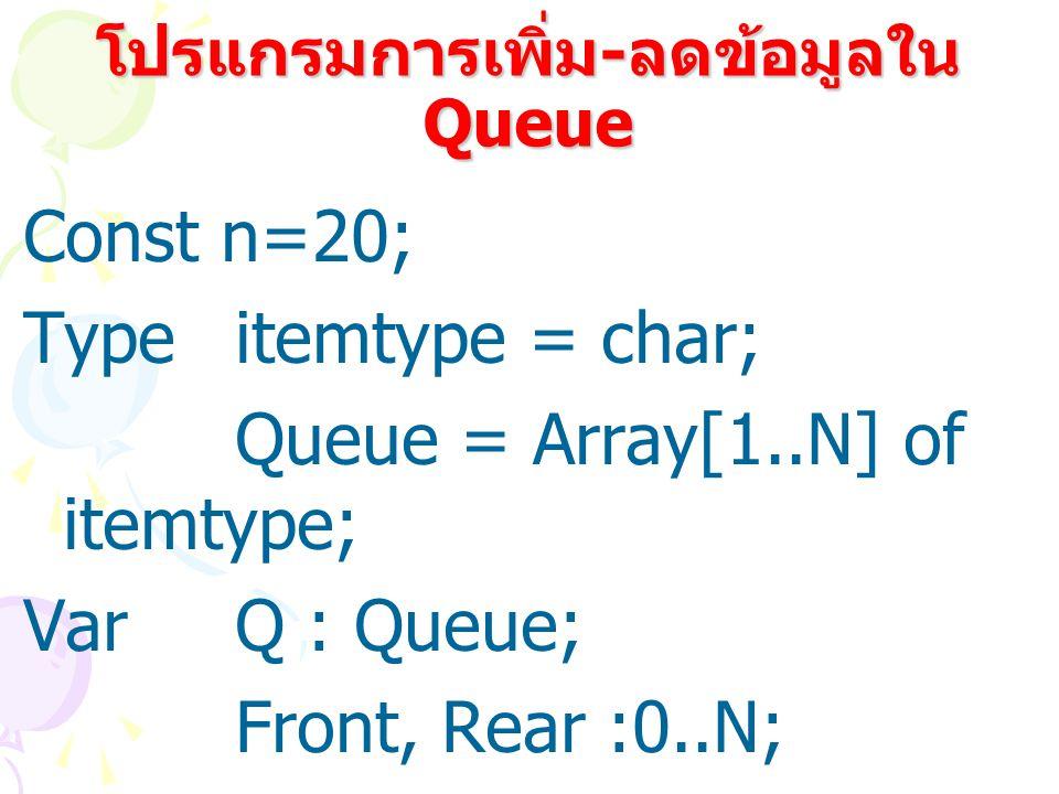 โปรแกรมการเพิ่ม-ลดข้อมูลใน Queue