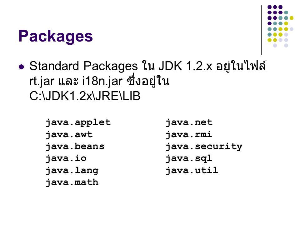 Packages Standard Packages ใน JDK 1.2.x อยู่ในไฟล์ rt.jar และ i18n.jar ซึ่งอยู่ใน C:\JDK1.2x\JRE\LIB.