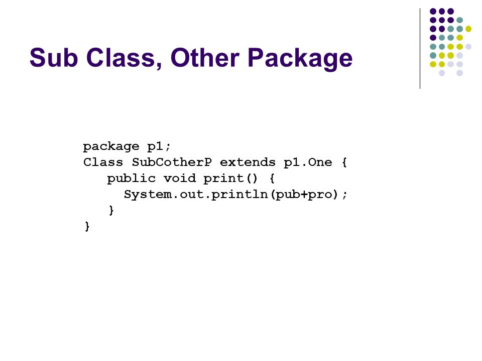 Sub Class, Other Package