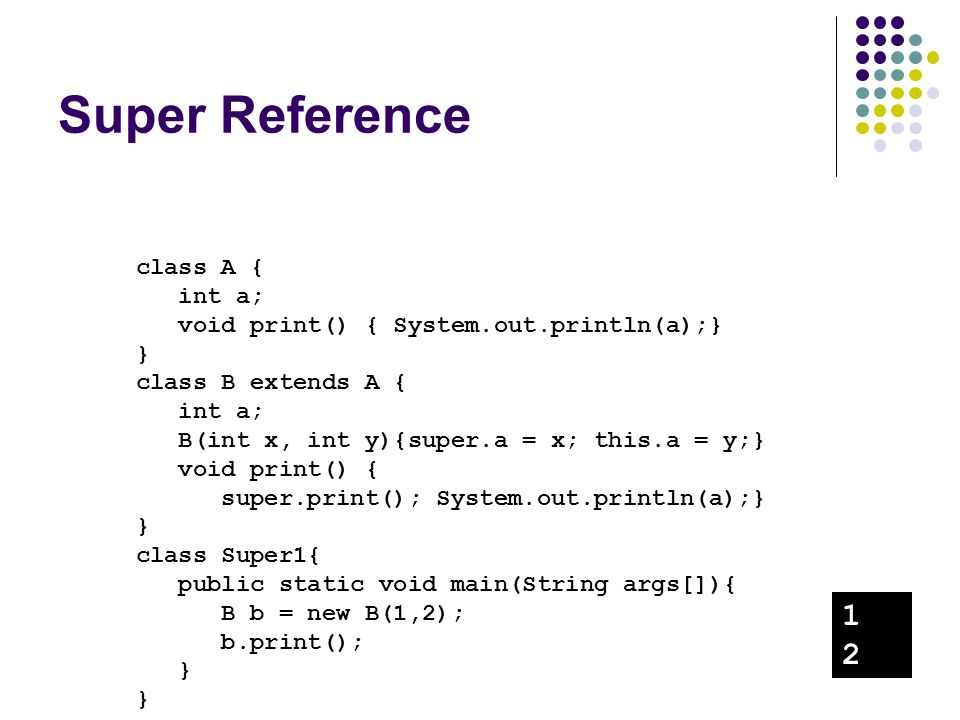 Super Reference 1 2 class A { int a;