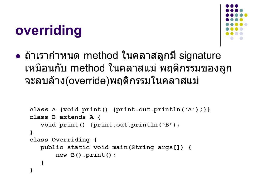 overriding ถ้าเรากำหนด method ในคลาสลูกมี signature เหมือนกับ method ในคลาสแม่ พฤติกรรมของลูกจะลบล้าง(override)พฤติกรรมในคลาสแม่