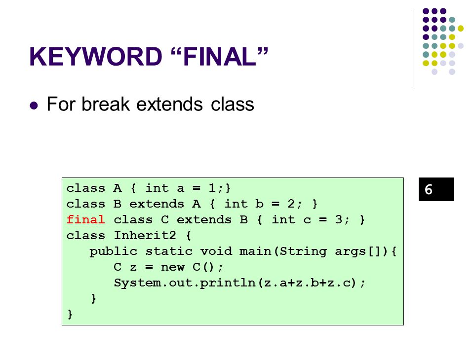 KEYWORD FINAL For break extends class 6 class A { int a = 1;}