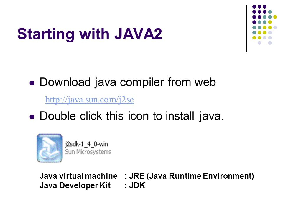 Starting with JAVA2 Download java compiler from web