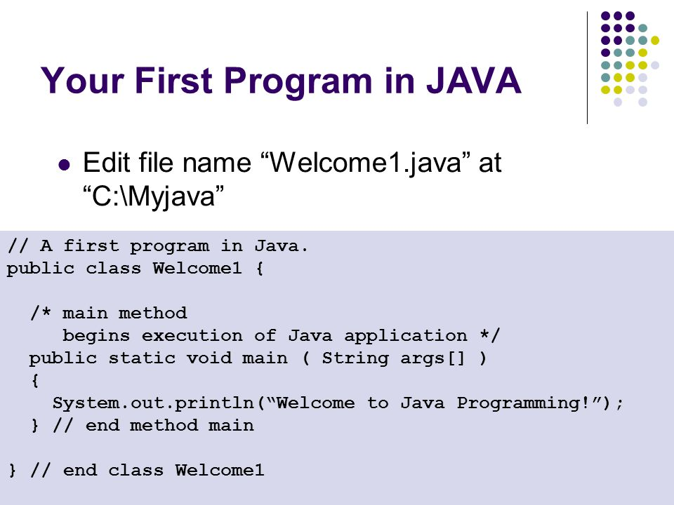 Your First Program in JAVA