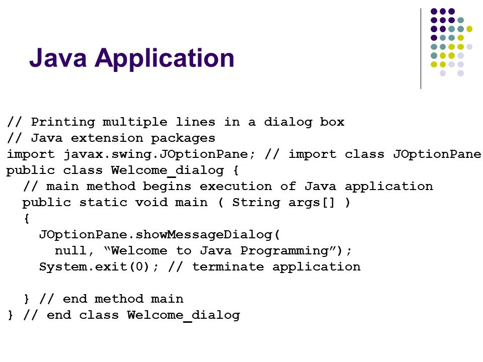 Java Application // Printing multiple lines in a dialog box