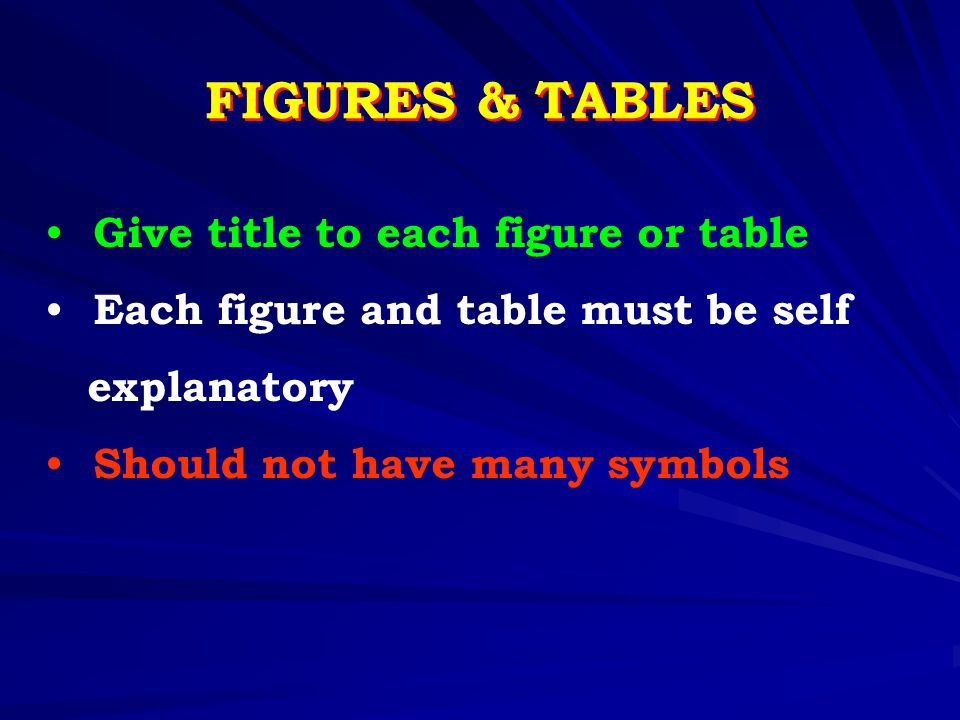 FIGURES & TABLES Give title to each figure or table