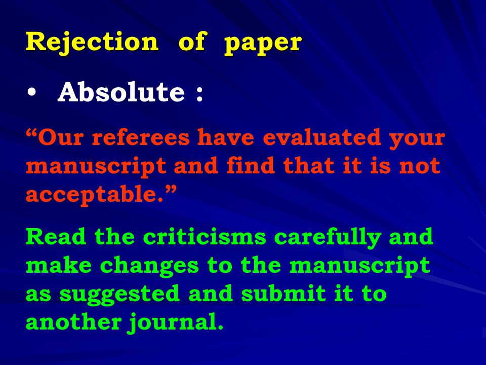 Absolute : Rejection of paper