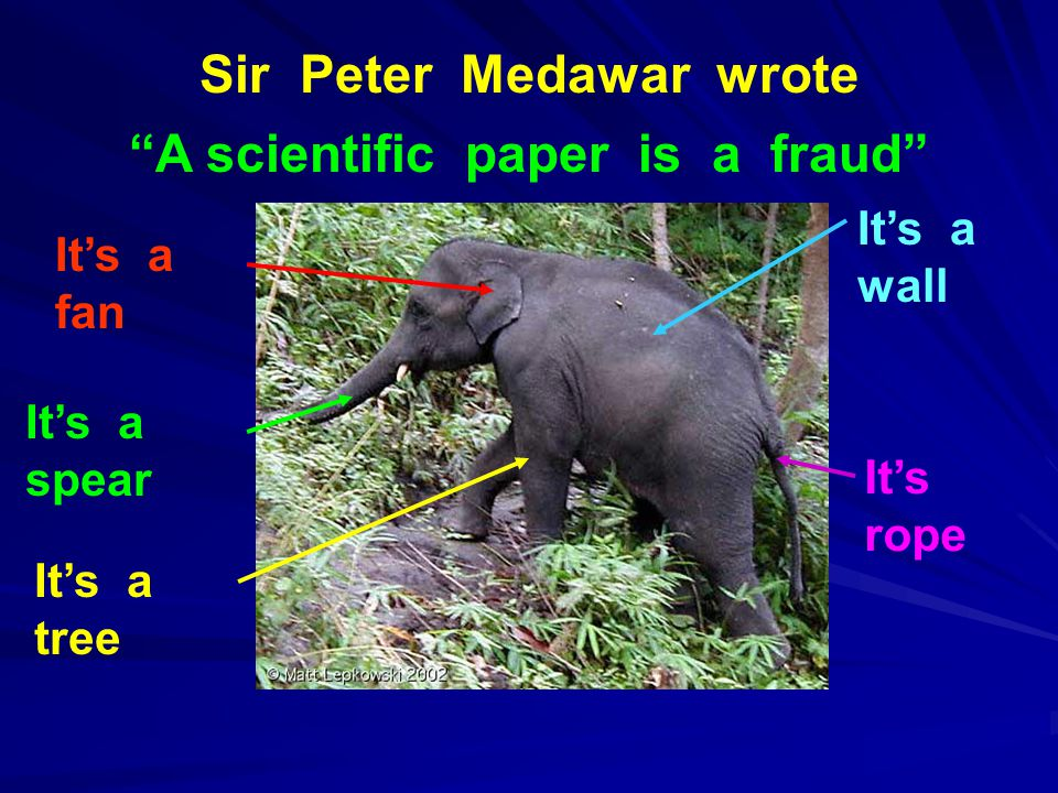 Sir Peter Medawar wrote A scientific paper is a fraud