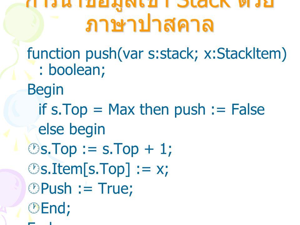 การนำข้อมูลเข้า Stack ด้วยภาษาปาสคาล