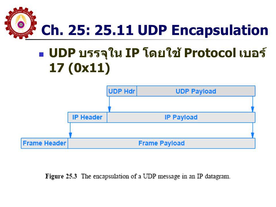Ch. 25: 25.11 UDP Encapsulation UDP บรรจุใน IP โดยใช้ Protocol เบอร์ 17 (0x11)