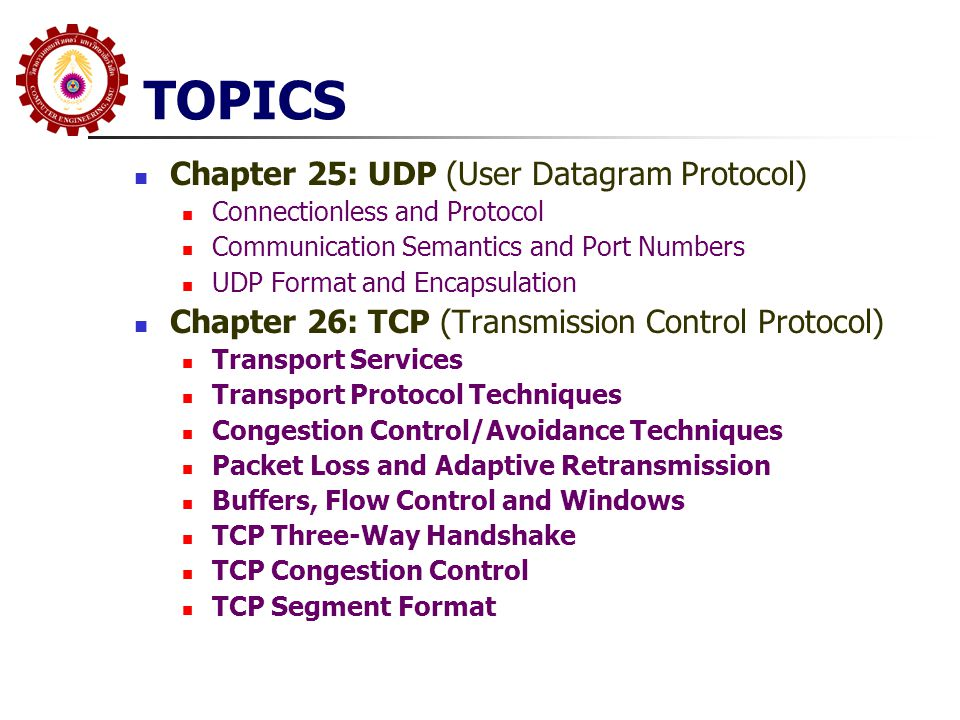 TOPICS Chapter 25: UDP (User Datagram Protocol)