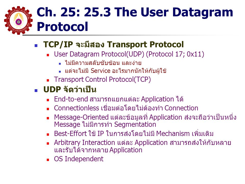 Ch. 25: 25.3 The User Datagram Protocol