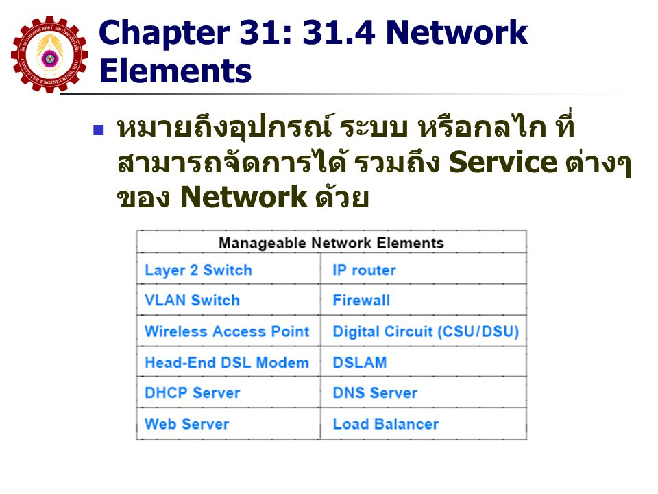 Chapter 31: 31.4 Network Elements