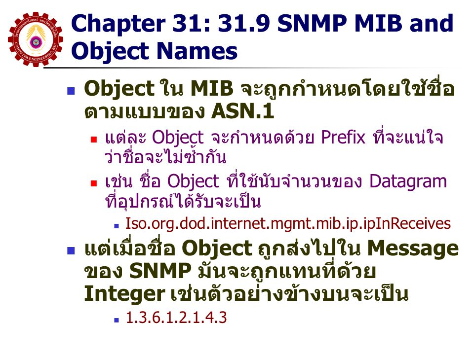 Chapter 31: 31.9 SNMP MIB and Object Names