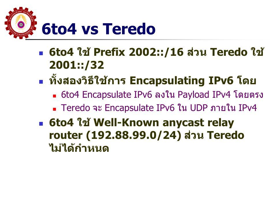 6to4 vs Teredo 6to4 ใช้ Prefix 2002::/16 ส่วน Teredo ใช้ 2001::/32