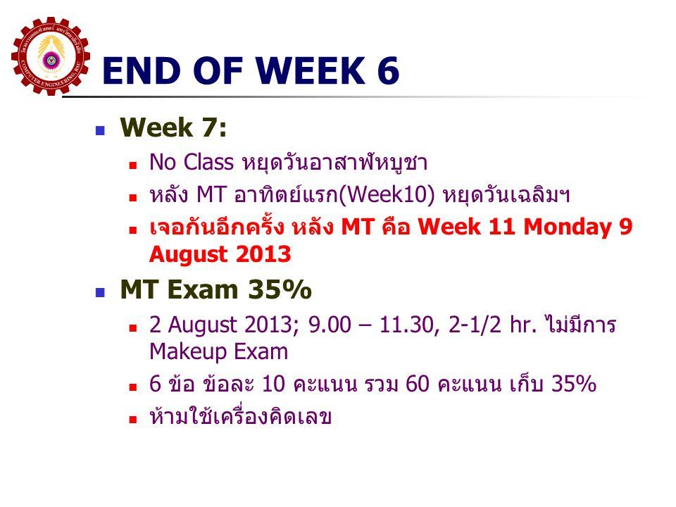 END OF WEEK 6 Week 7: MT Exam 35% No Class หยุดวันอาสาฬหบูชา
