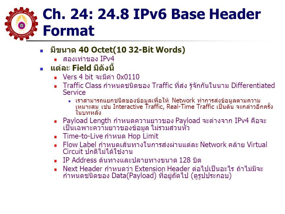 Ch. 24: 24.8 IPv6 Base Header Format