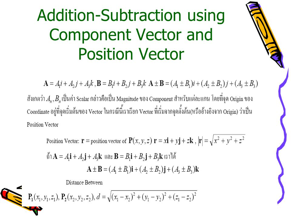 Addition-Subtraction using Component Vector and Position Vector