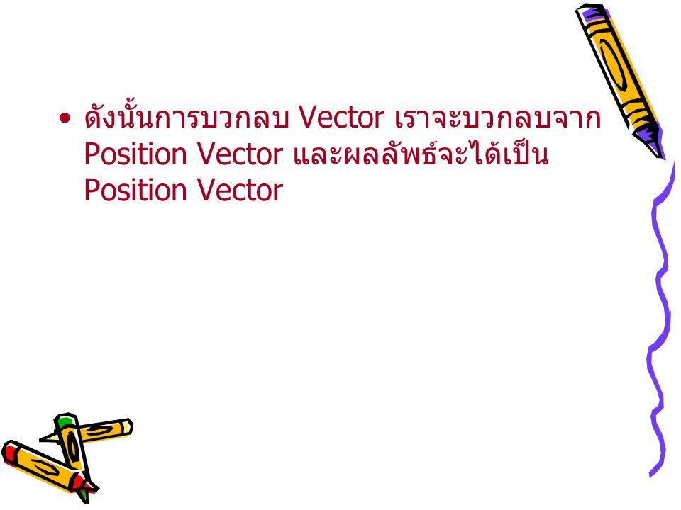ดังนั้นการบวกลบ Vector เราจะบวกลบจาก Position Vector และผลลัพธ์จะได้เป็น Position Vector