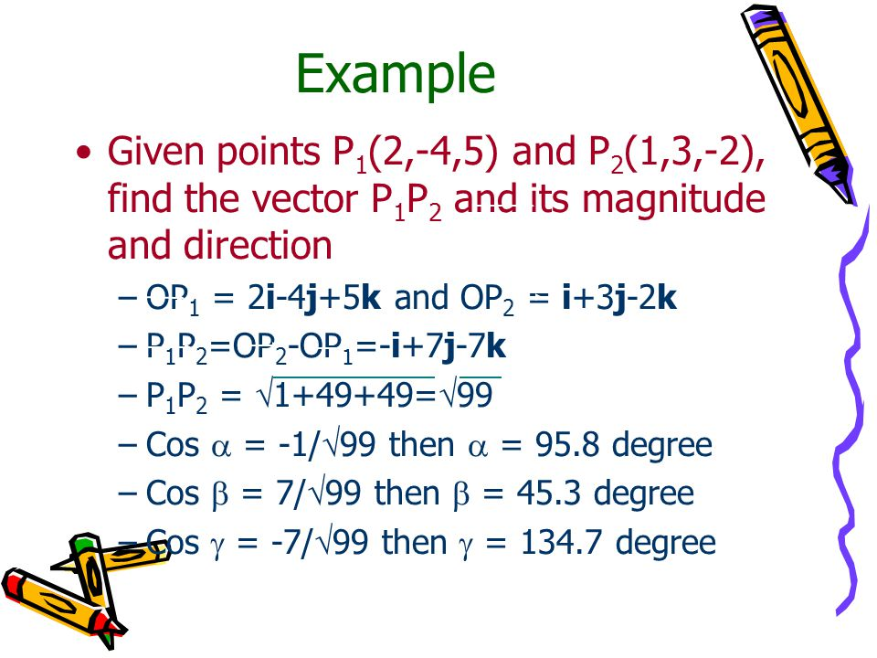 Example Given points P1(2,-4,5) and P2(1,3,-2), find the vector P1P2 and its magnitude and direction.
