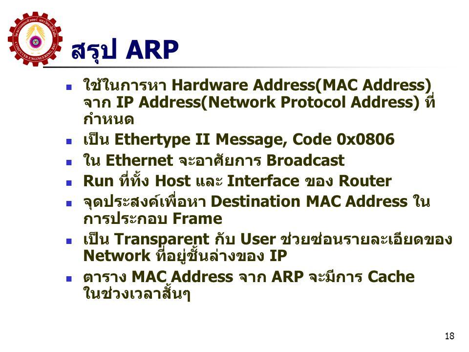 สรุป ARP ใช้ในการหา Hardware Address(MAC Address) จาก IP Address(Network Protocol Address) ที่กำหนด.