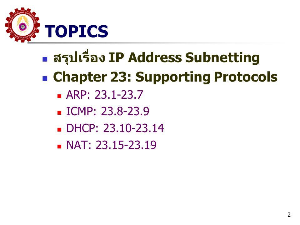 TOPICS สรุปเรื่อง IP Address Subnetting