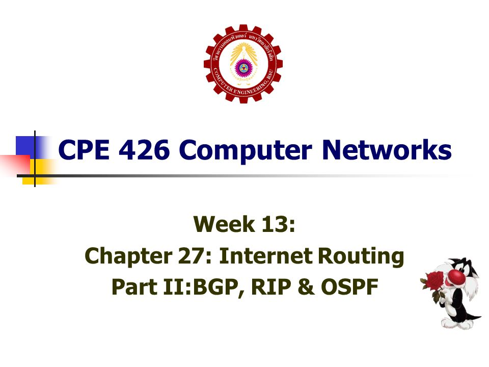 Week 13: Chapter 27: Internet Routing Part II:BGP, RIP & OSPF