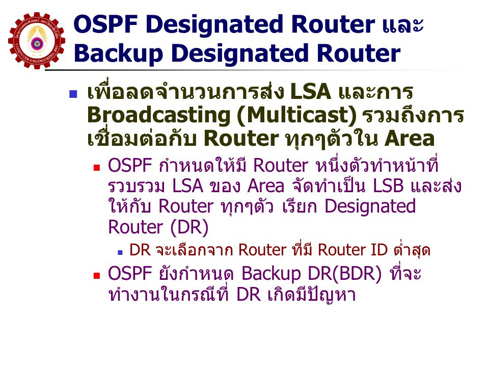 OSPF Designated Router และ Backup Designated Router