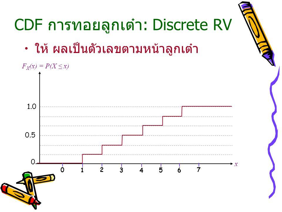 CDF การทอยลูกเต๋า: Discrete RV