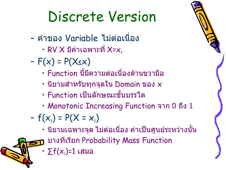 Discrete Version ค่าของ Variable ไม่ต่อเนื่อง F(x) = P(X≤x)
