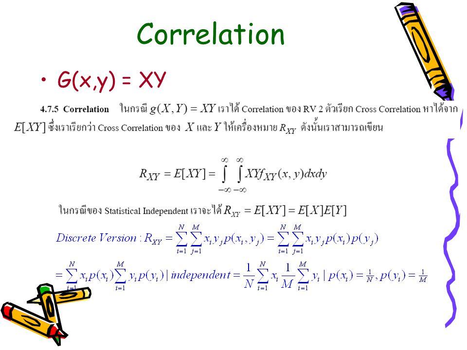 Correlation G(x,y) = XY