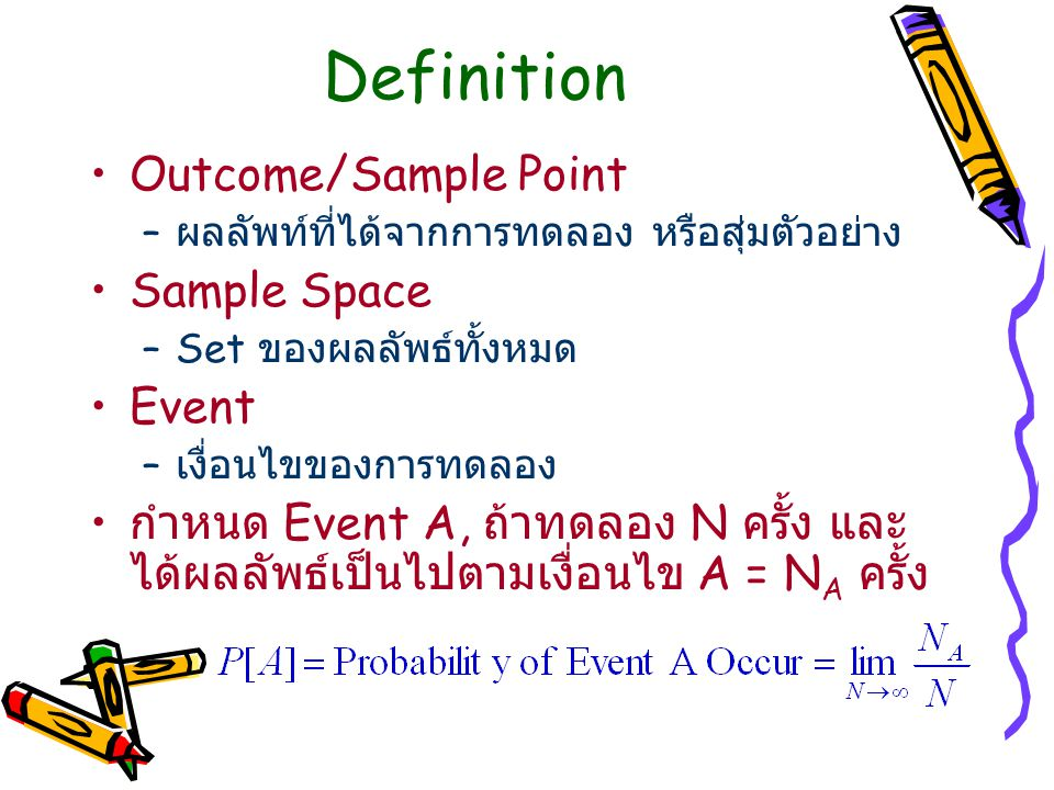 Definition Outcome/Sample Point Sample Space Event