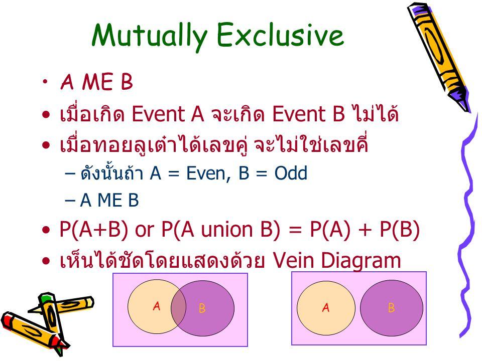 Mutually Exclusive A ME B เมื่อเกิด Event A จะเกิด Event B ไม่ได้
