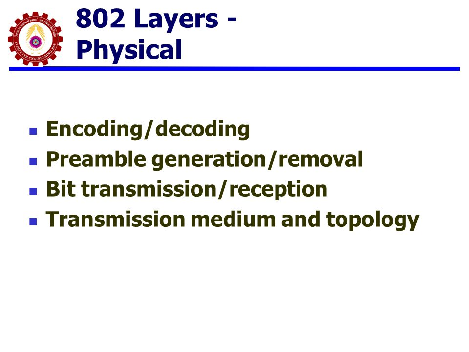 802 Layers - Physical Encoding/decoding Preamble generation/removal