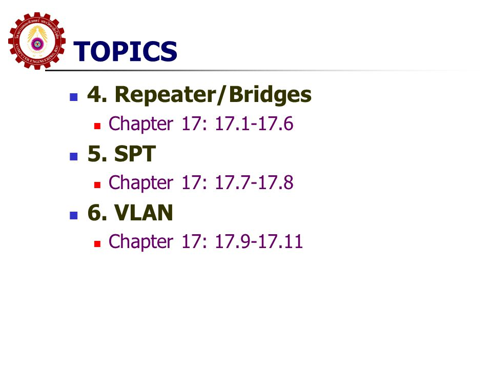 TOPICS 4. Repeater/Bridges 5. SPT 6. VLAN Chapter 17: 17.1-17.6