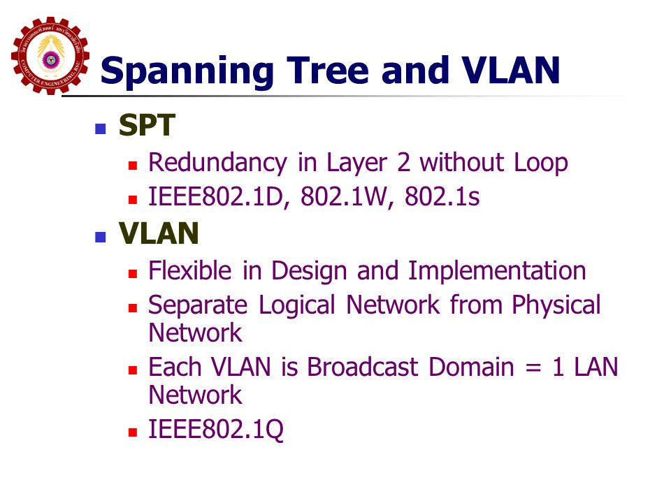Spanning Tree and VLAN SPT VLAN Redundancy in Layer 2 without Loop