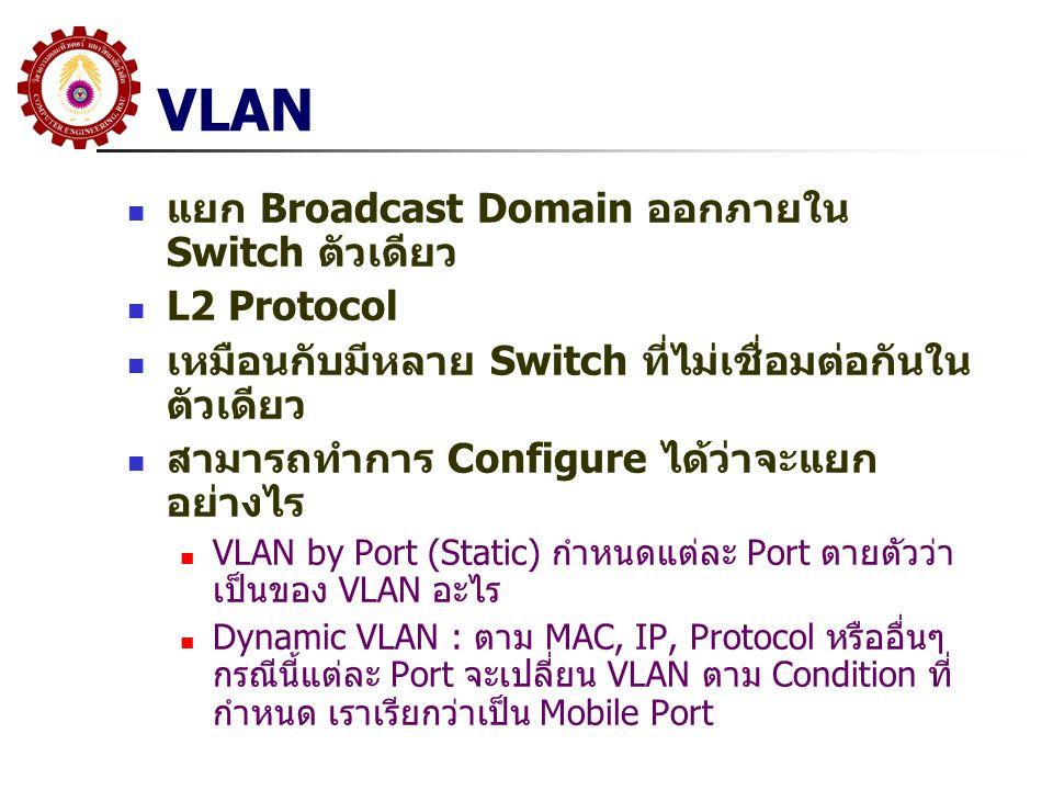 VLAN แยก Broadcast Domain ออกภายใน Switch ตัวเดียว L2 Protocol