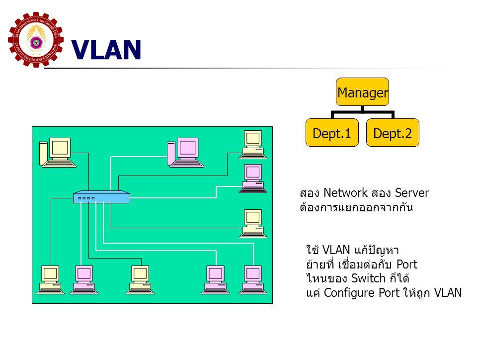 VLAN สอง Network สอง Server ต้องการแยกออกจากกัน ใช้ VLAN แก้ปัญหา