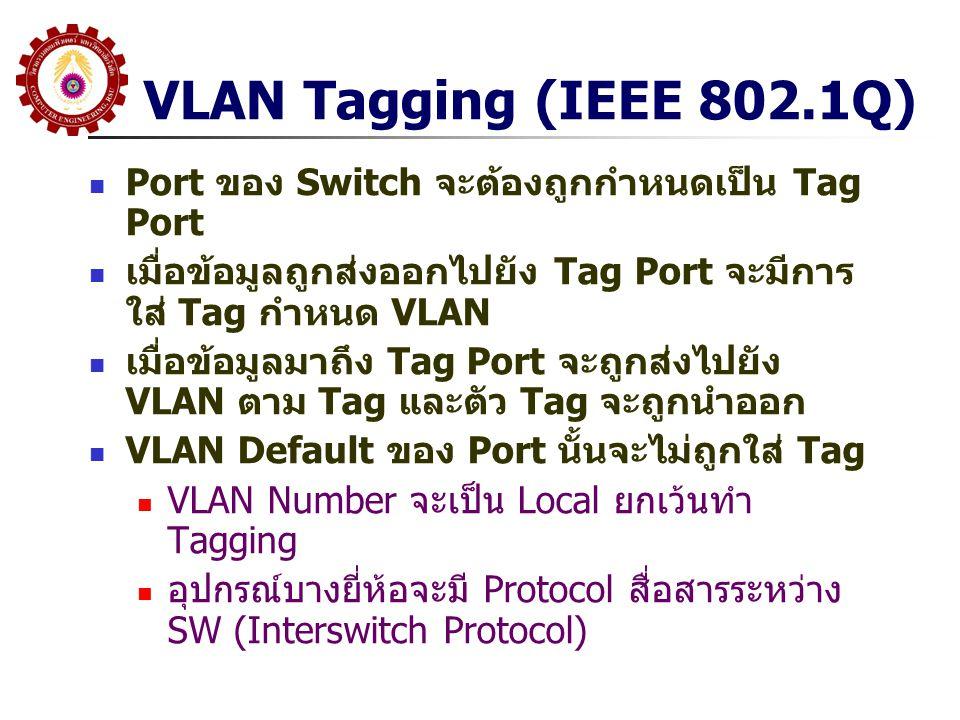 VLAN Tagging (IEEE 802.1Q) Port ของ Switch จะต้องถูกกำหนดเป็น Tag Port