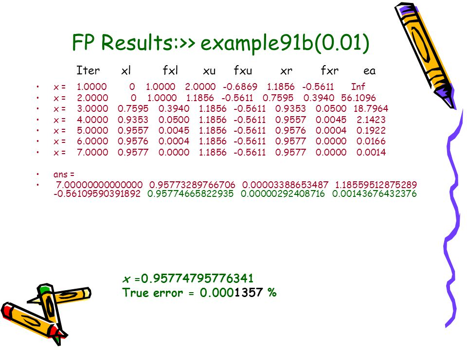 FP Results:>> example91b(0.01)